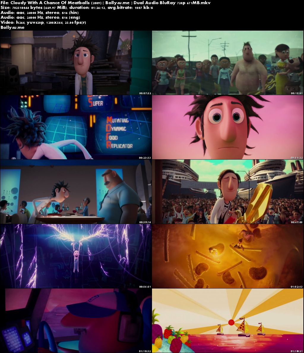 Cloudy With A Chance Of Meatballs 2009 BRRip 650MB Hindi Dual Audio 720p Download