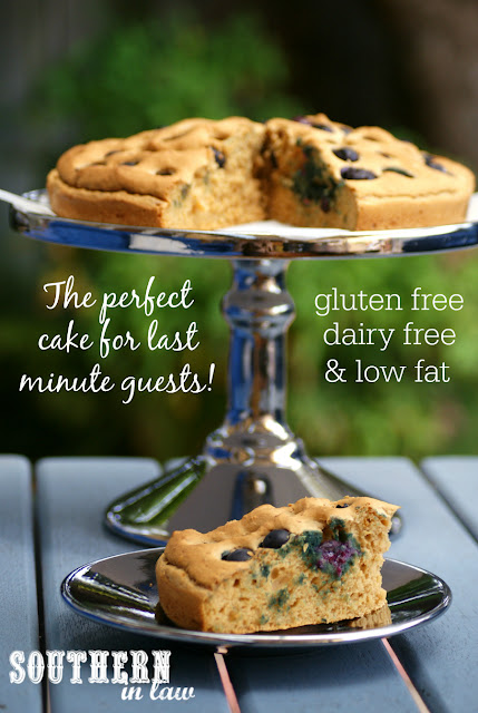The Perfect Cake for Last Minute Guests - Healthy Blueberry Cake Recipe - Low fat, gluten free, dairy free, low sugar