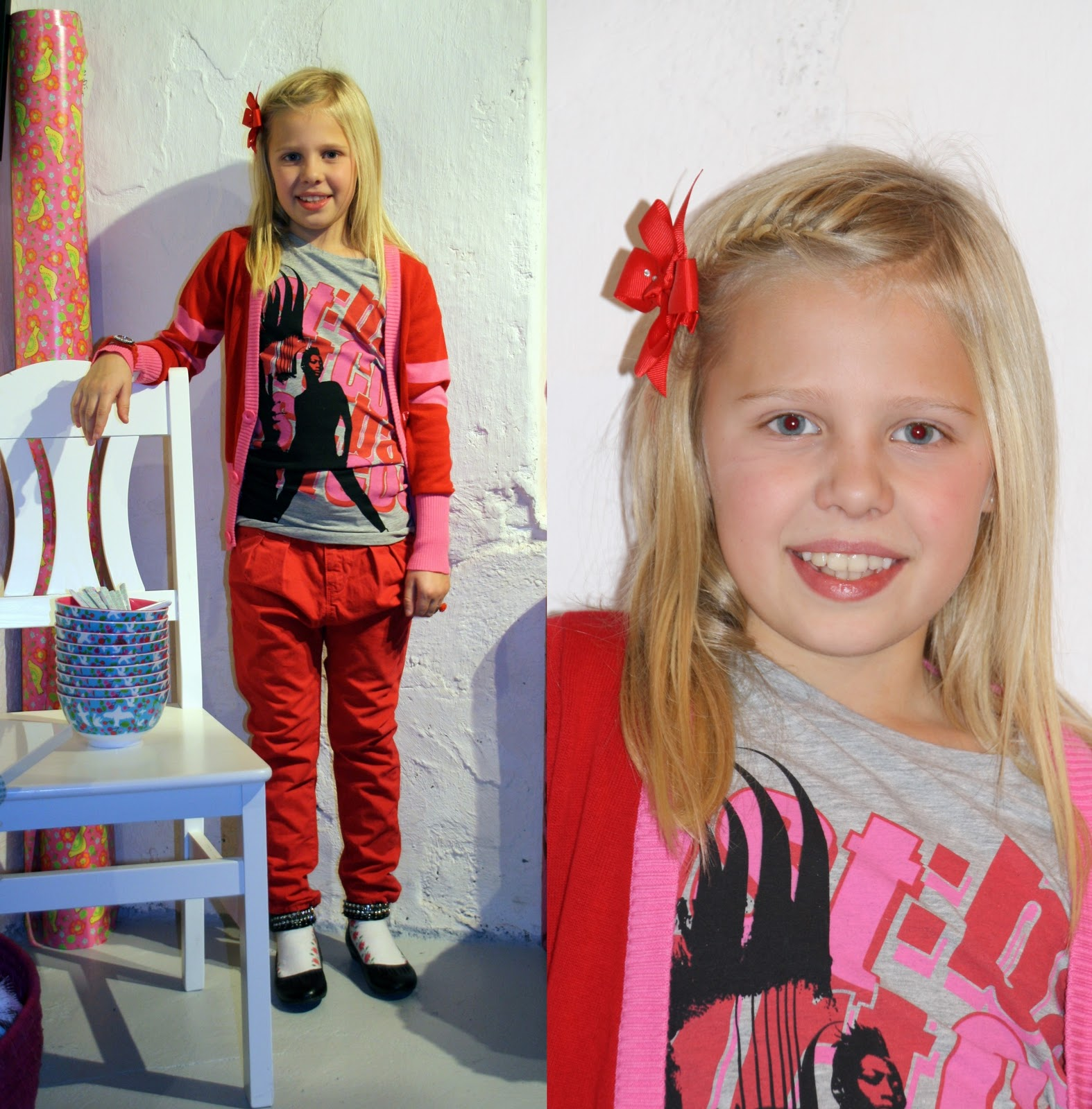 5fba6864 Tøffe jenter i antrekk fra Costbart, T-skjorter, cardigan, dressjakke og  sægge-bukser.
