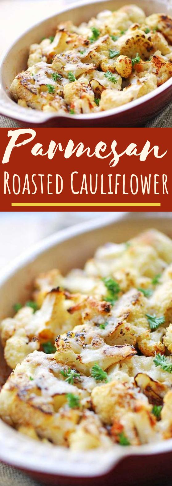 Parmesan Roasted Cauliflower #vegetarian #vegetables