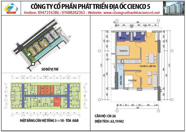 Sơ đồ thiết kế căn 26 chung cư B2.1 HH02A&B Thanh Hà Cienco 5