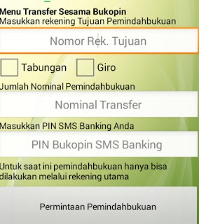 gambar 2 Tutorial Transaksi SMS Banking Bukopin transfer sesama