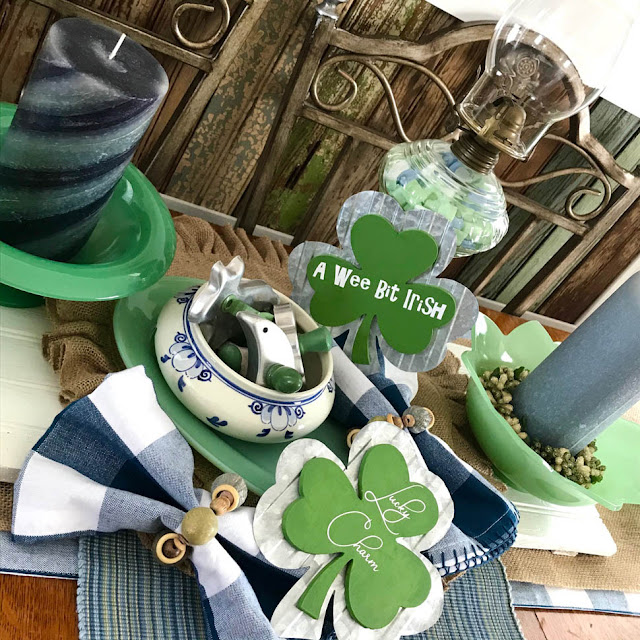 St. Patty's Day Table Scape by Thistle Thicket Studio. www.thistlethicketstudio.com