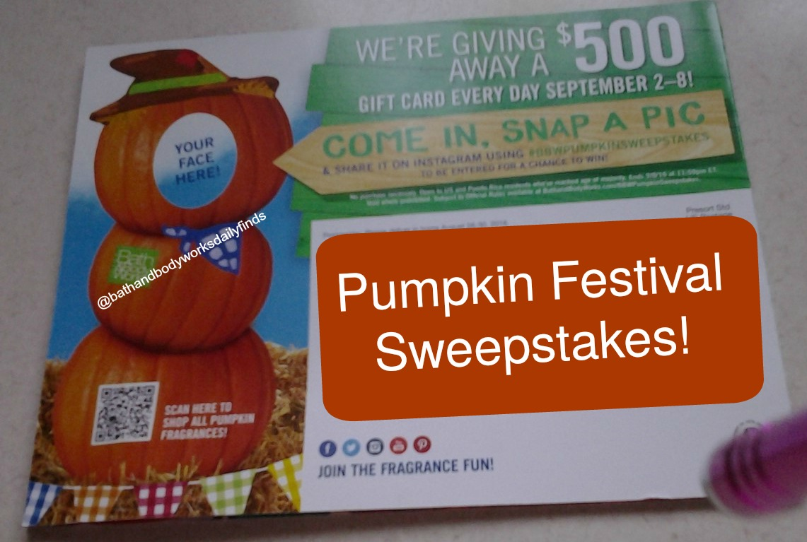 Sweepstakes for bath and body works