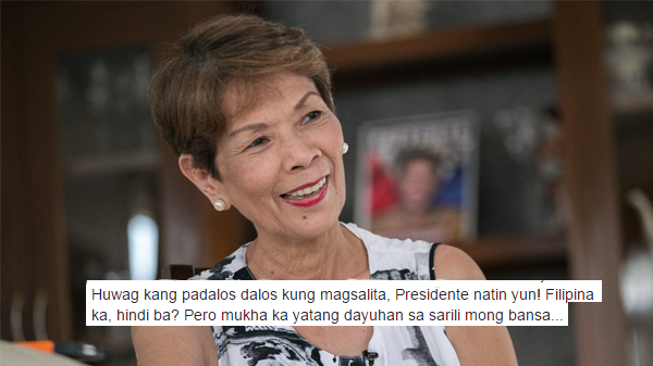 Presidential sister reacts against Agot Isidro's 'psychopath' remark