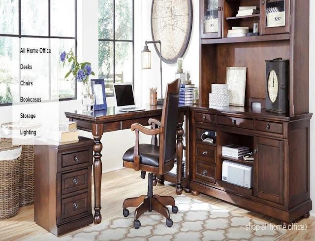 best buy Ashley furniture office desk wood sets for sale online