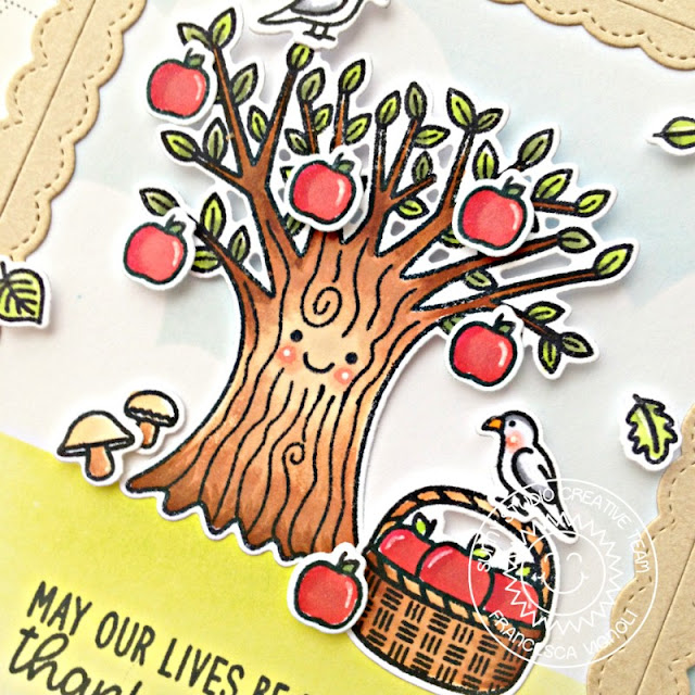 Sunny Studio Stamps: Happy Harvest Fancy Frames Dies Apple Tree Fall Themed Card by Franci Vignoli