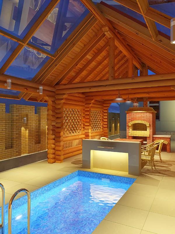 проект бани с бассейном, баня для дачи