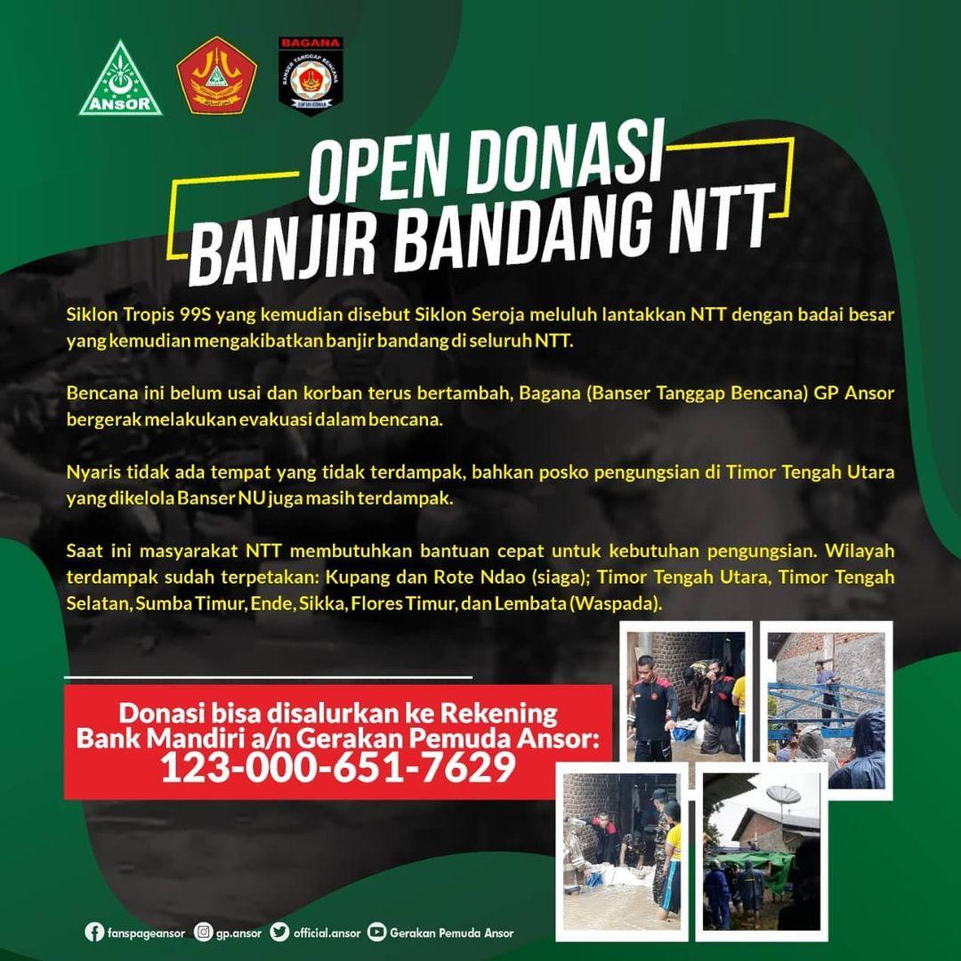 Open Donasi Banjir Bandang NTT