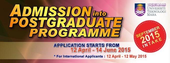 Kemasukan Ke Program Postgraduate UITM September 2015