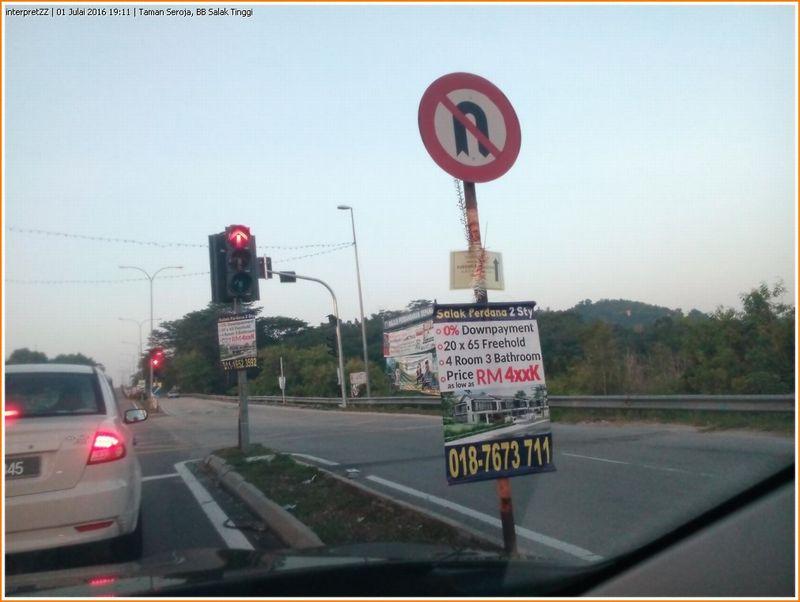 Gambar iklan rumah untuk dijual di Salak Perdana berhampiran dengan lam[u trafik taman Seroja berharga RM 400000