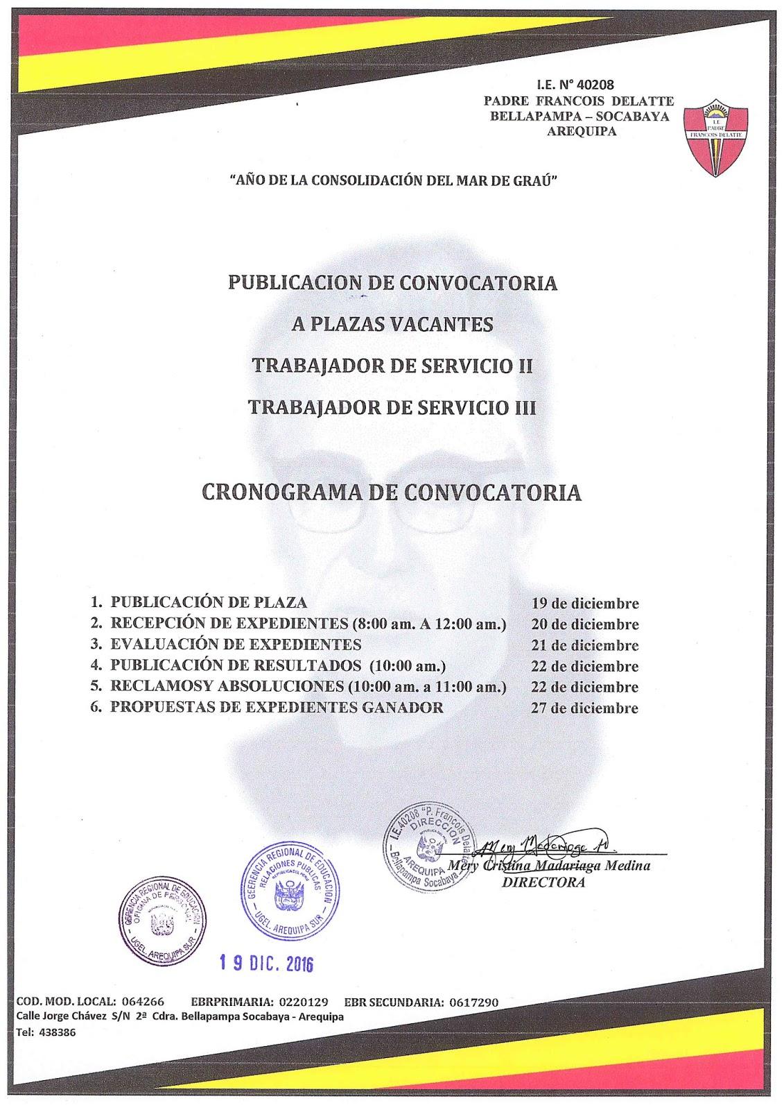 Convocatoria para plazas de personal de servicio ii y iii for Convocatoria para plazas docentes 2016