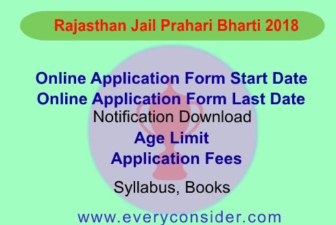 Rajasthan Jail Prahari Bharti 2018