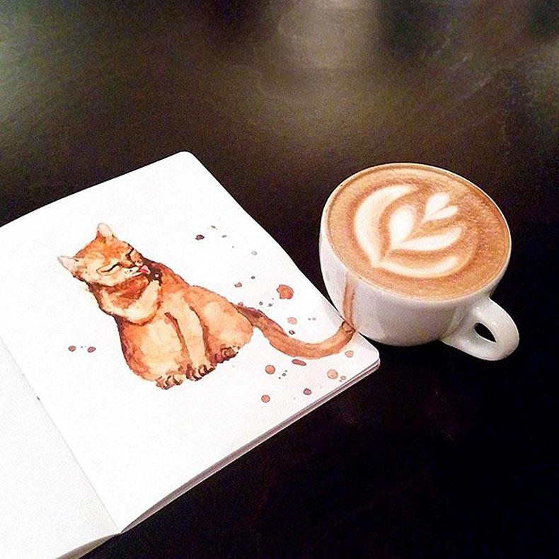 Gatos bonitos coloreados con café que saltan fuera de las tazas