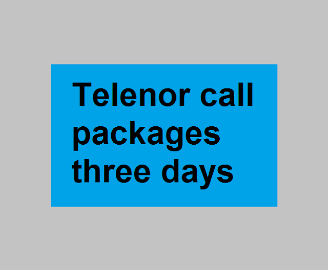 Telenor call packages three days