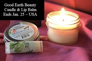 GOOD EARTH BEAUTY LIP BALM & SOY CANDLE