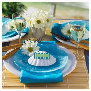 aqua and white table setting