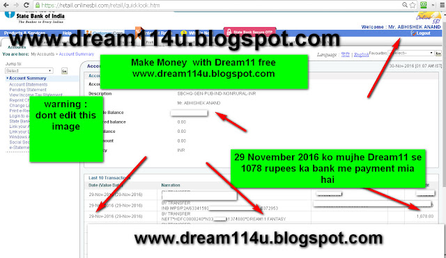 29 November 2016 ko mujhe Dream11 se bank me 1078 rupees ka payment mila hai-see screenshot
