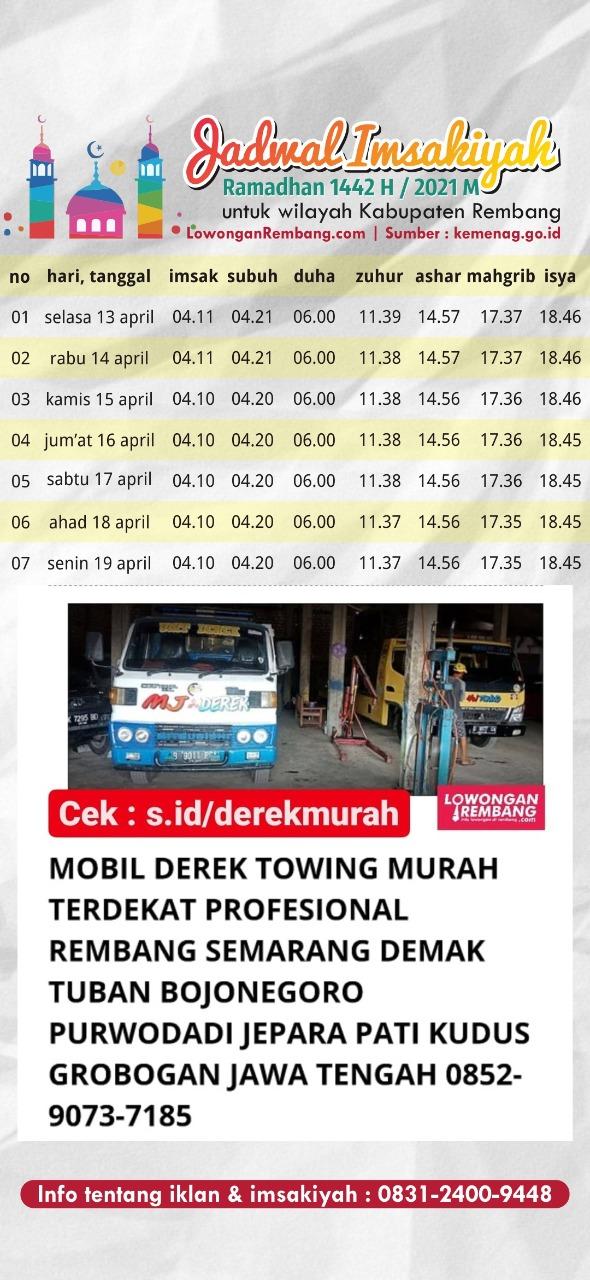 Jadwal Imsakiyah Ramadhan 1442 Hijriyah 2021 Masehi Kabupaten Rembang Minggu Pertama