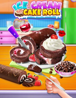 Permainan memasak Ice Cream Cake Roll maker – Super Sweet Dessert