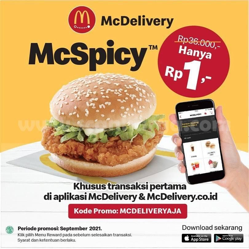 McDonalds Promo McSpicy hanya Rp. 1,- via Aplikasi McDelivery
