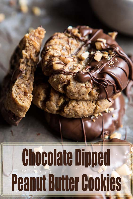 5 Ingredient Chocolate Dipped Peanut Butter Cookies