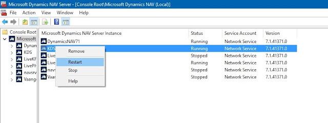 Restart Service Microsoft Dynamics NAV 2013 R2 Administration
