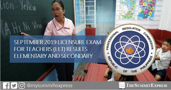 FULL RESULTS: September 2019 LET teachers board exam list of passers, top 10