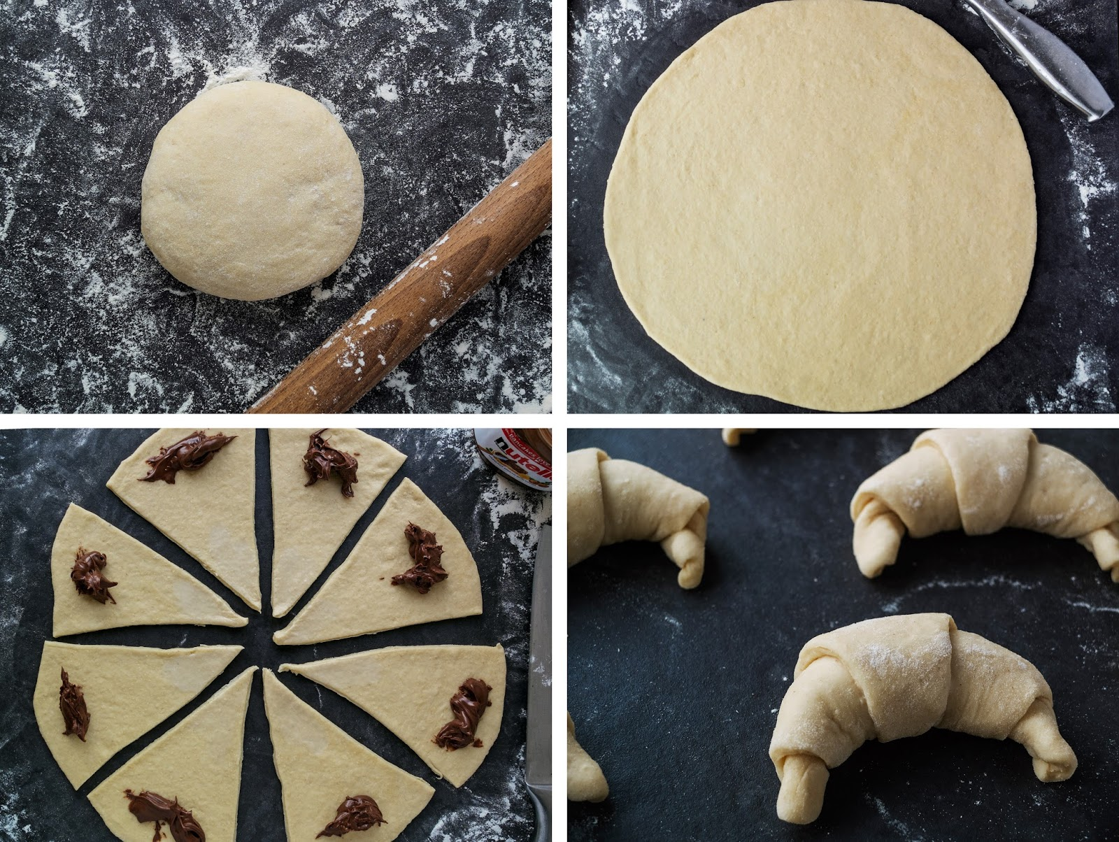Step by step photos to making a crescent filled with Nutella.