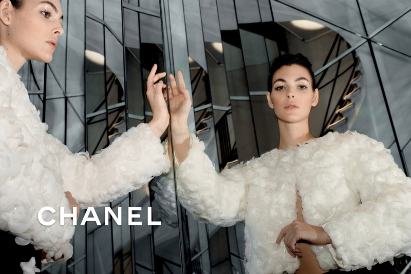Vittoria Ceretti poses for Chanel pre-fall 2020 campaign.