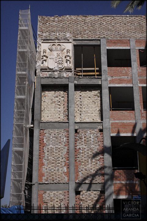 fotografía, escudo, España, crisis, Murcia, arriba_extraña, edificio, arquitectura