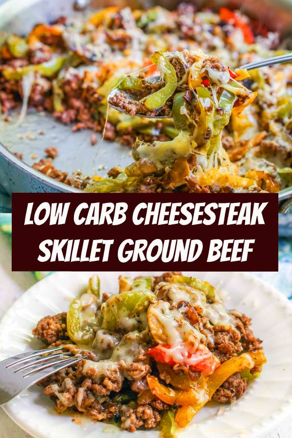 This low carb cheesesteak skillet using ground beef is a keto dinner you can whip up any day of the week. Eat it as is, on top a salad or even on a roll for those not counting carbs. Each serving only has only 3.9g net carbs. #lowcarb #cheesesteak #groundbeef #dinner #keto