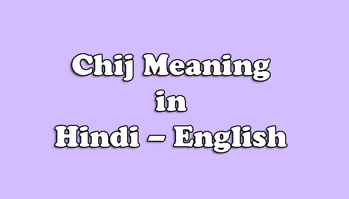 Chij Meaning in Hindi - चीज का क्या अर्थ है ?
