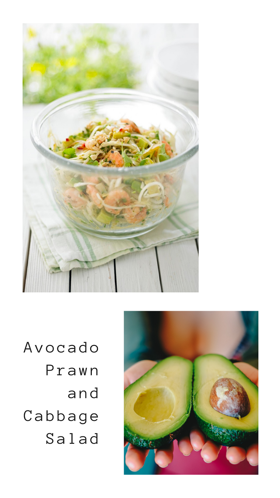 Avocado, Prawn and Cabbage Salad.