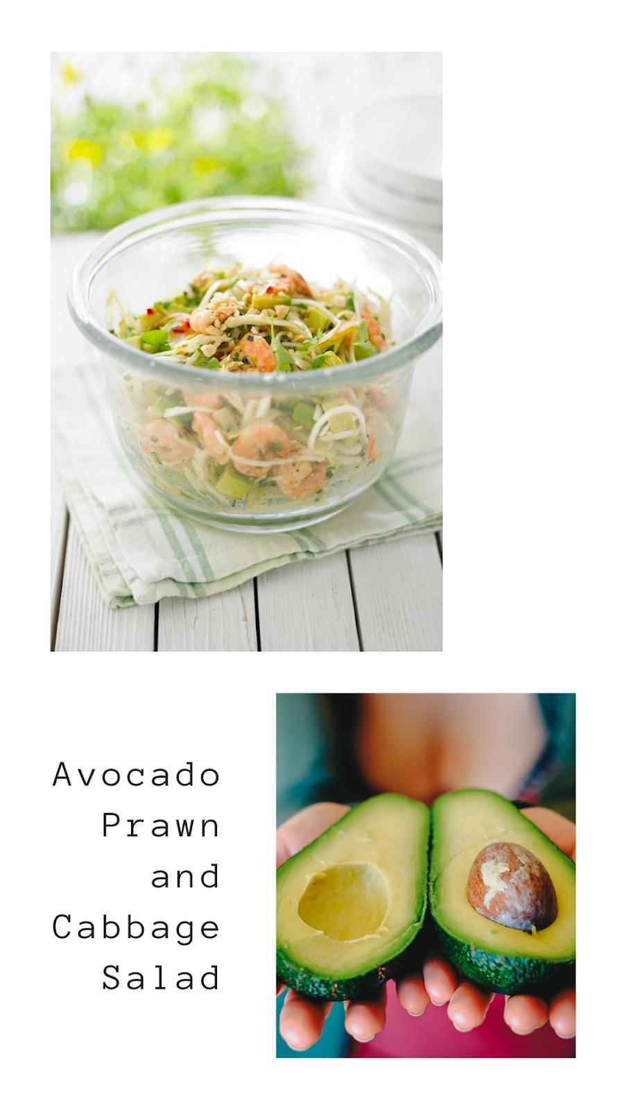 Avocado, Prawn and Cabbage Salad.