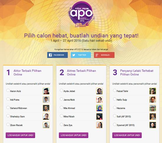 Blog Manakah Patut Dipilih Dalam Anugerah Pilihan Online 2016?