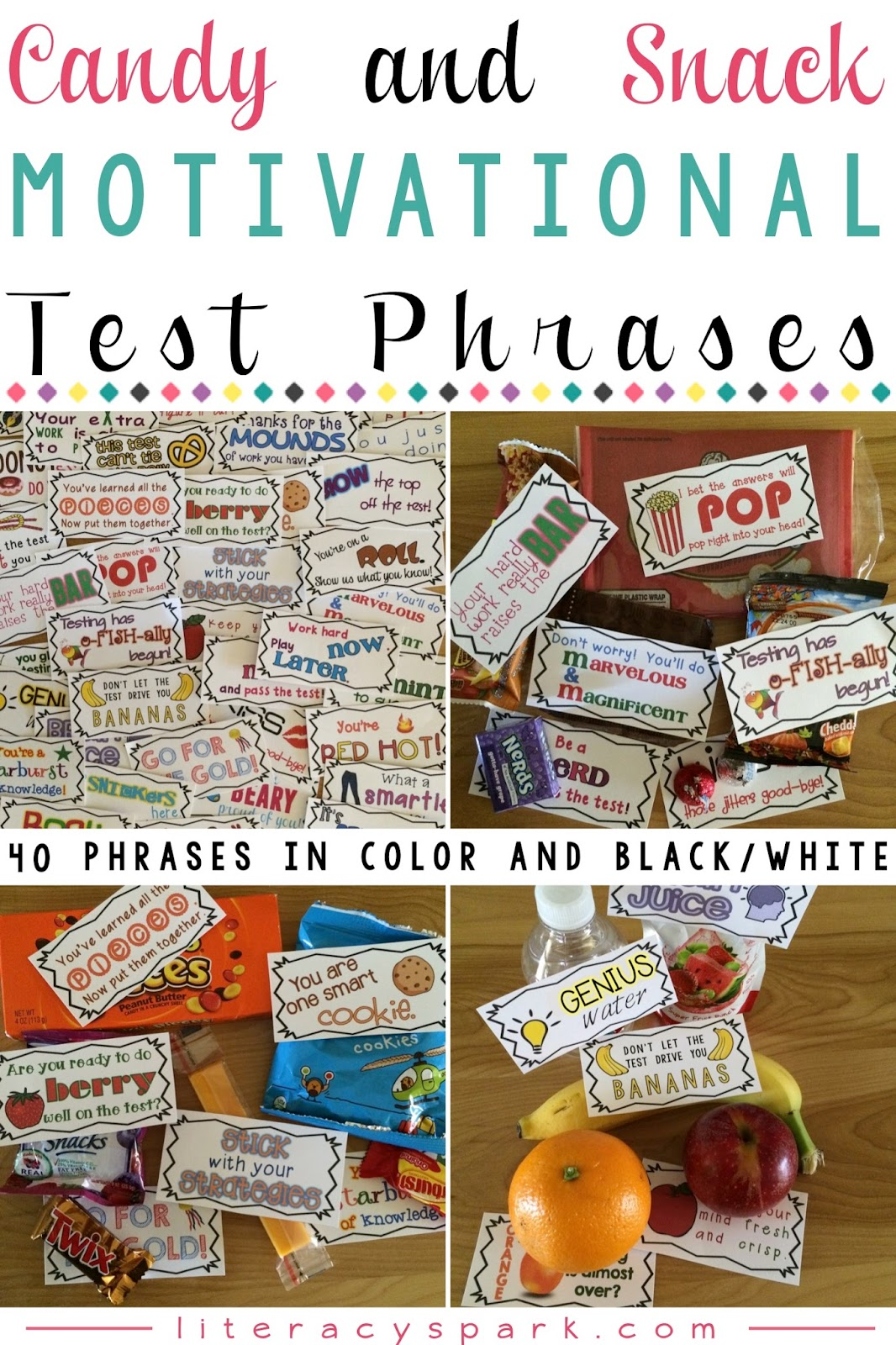 Candy & Snack Motivational Test Phrases - Literacy Spark