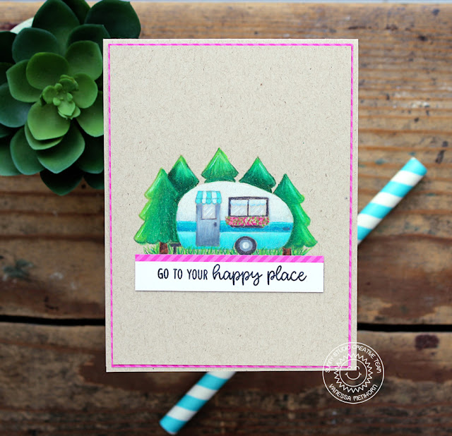 Sunny Studio Stamps: Happy Camper Pencil Colored Happy Place Card by Vanessa Menhorn