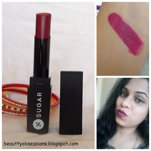 Sugar Cosmetics It's a Pout Time ! Vivid Lipstick 'The Big Bang Berry' - Review,Swatches
