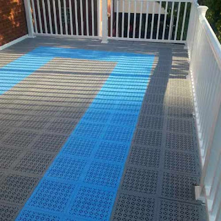 Greatmats Staylock Perforated Tiles Deck Flooring blue and gray