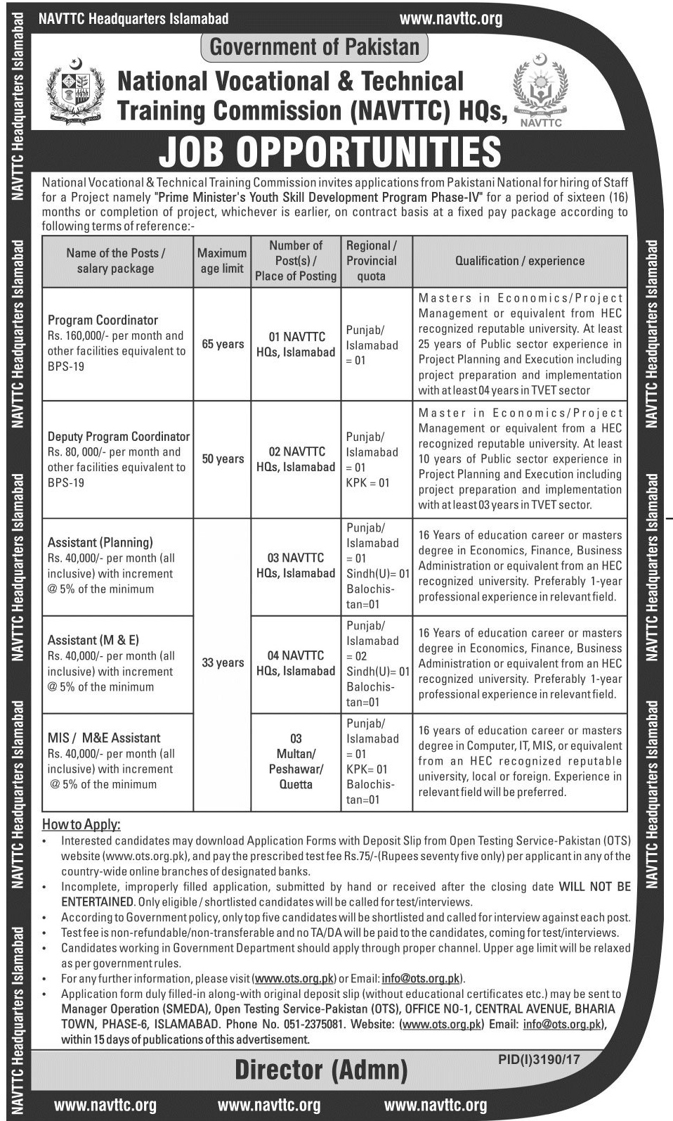 Jobs in National Vocational And Technical Training Commission Dec 2017