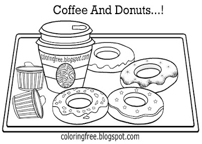 Raspberry jam strawberry chocolate donut Irish cream coffee and doughnuts coloring sheets for adults