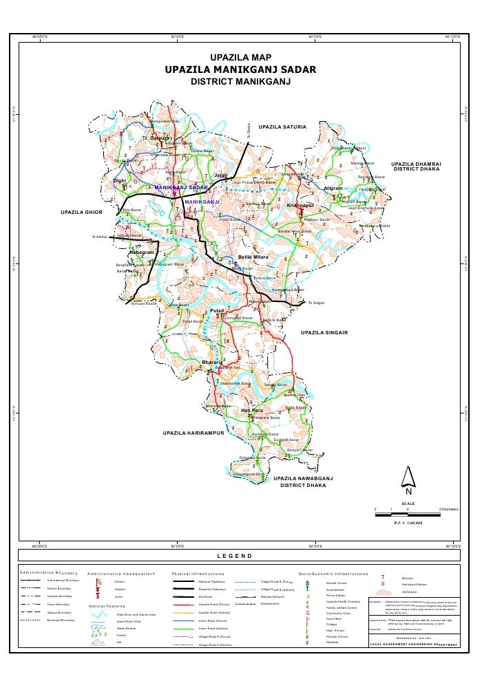 Manikganj Sadar Upazila Map Manikganj  District Bangladesh