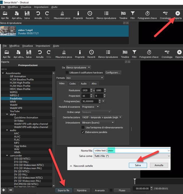 conversione video con elenco riproduzione