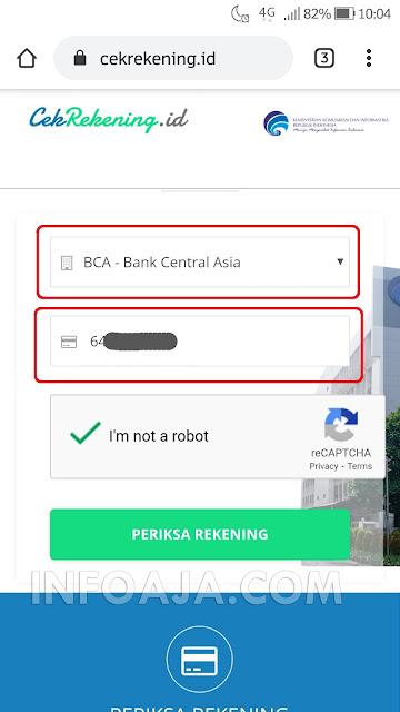 cara cek nomor rekening penipu online