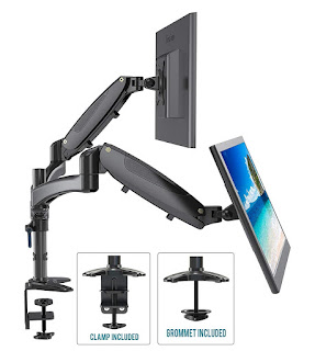 Dual-arm monitor supports for desk mounting