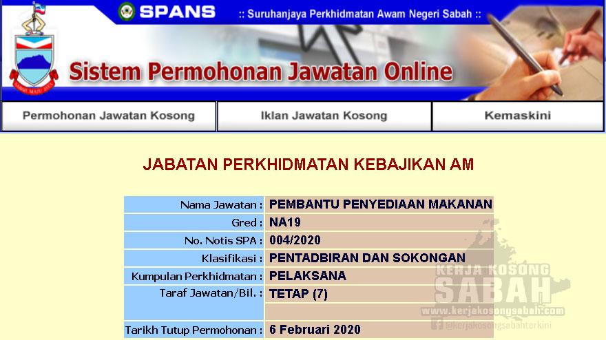 Kekosongan Jawatan Kerajaan Negeri Sabah 2020 Pembantu Penyediaan Makanan Gred N19 Jawatan Kosong Terkini Negeri Sabah