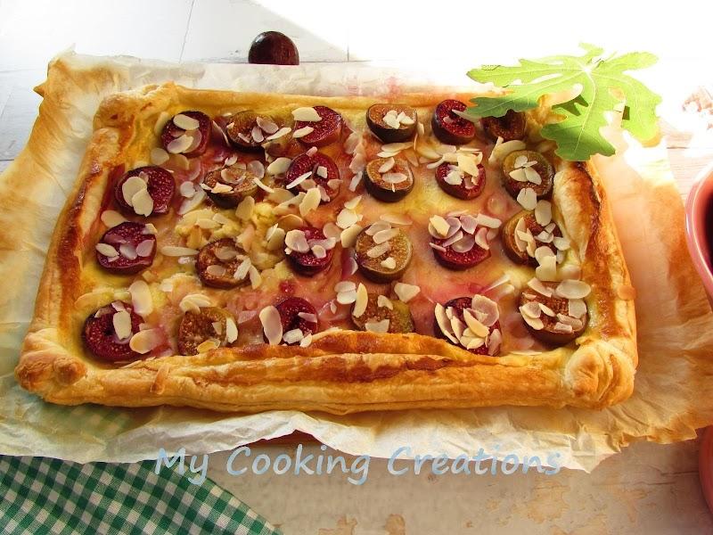 Сладкиш с бутер тесто, крем и смокини * Torta di sfoglia uva e crema