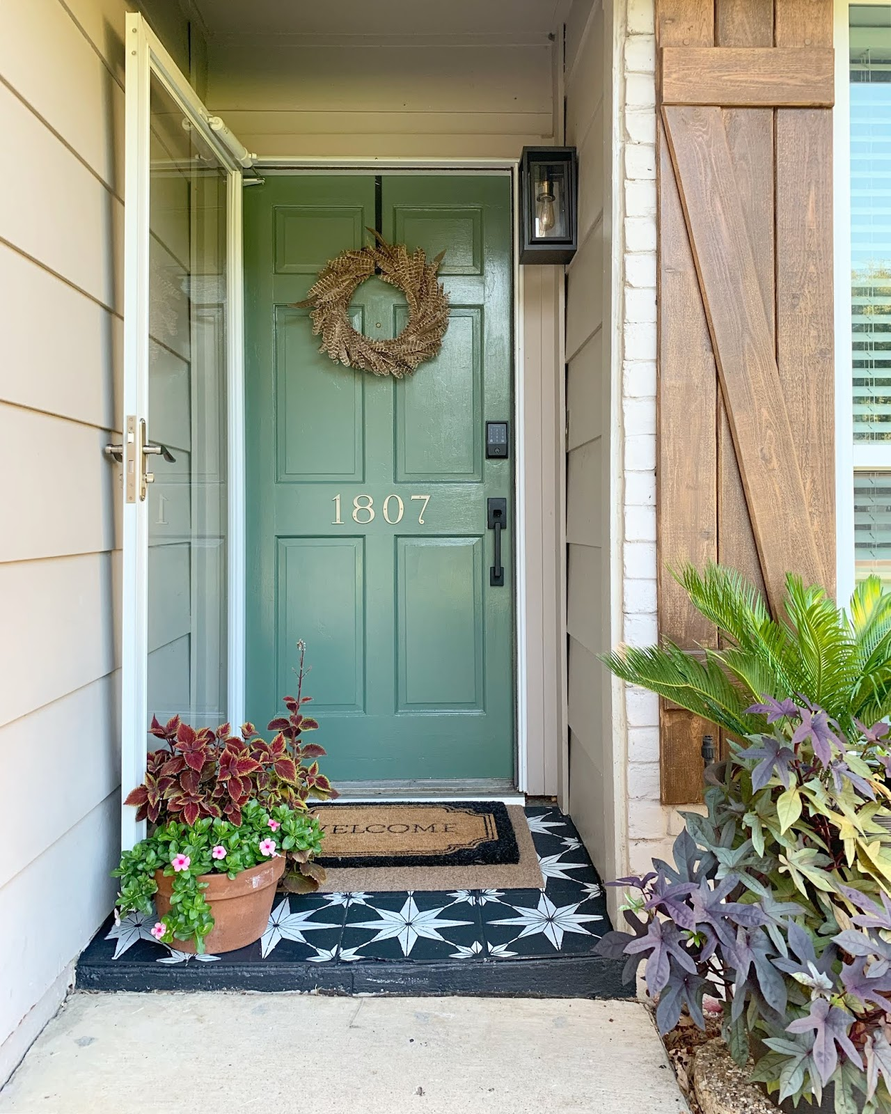 Curb Appeal Update! fresh balsam front door, schlage wifi lock and stenciled porch. | House Homemade