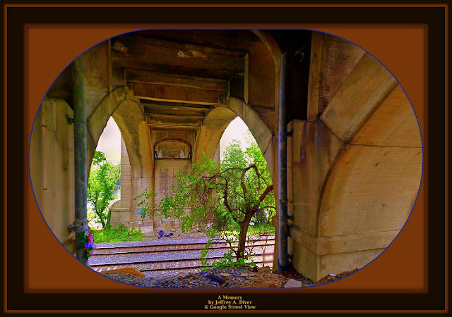 concrete arches with weathered streaks frame tree, railroad tracks, artificial bouquet and discarded belongings